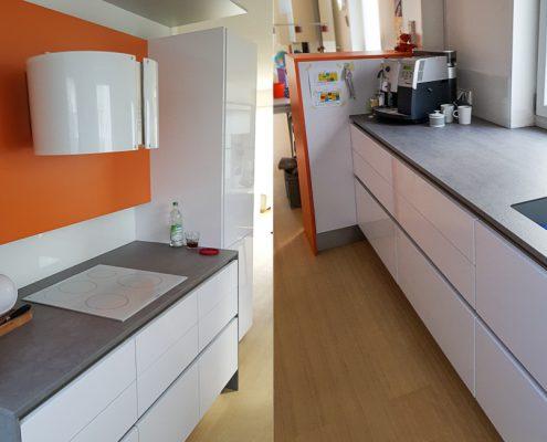 Küche mit Keramikarbeitsplatte